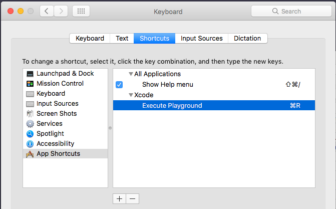 Xcode Execute Playgroun shortcut