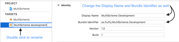 Rename and change bundle identifier