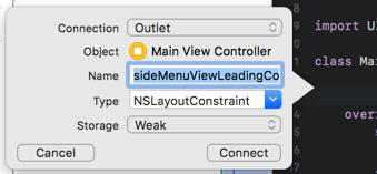 side menu view constraint outlet