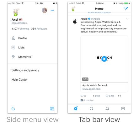 side menu and tab bar
