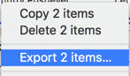 export 2 items