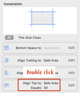 double click top constraint