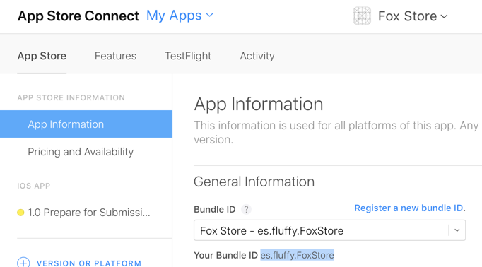App Store Connect bundle ID