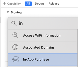 Add in app purchase capability