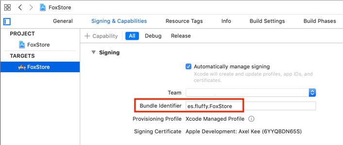 Xcode bundle ID