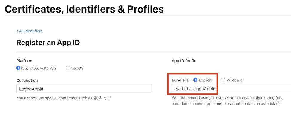 explicit bundle identifier