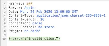 invalid client error